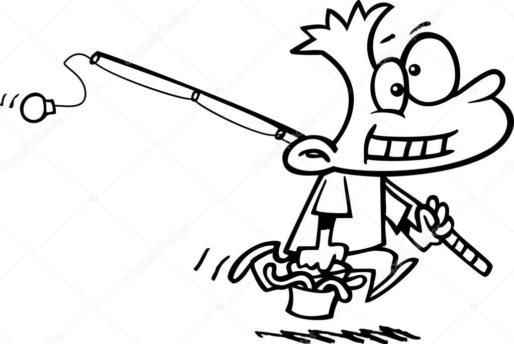 Kreslene Chlapce Rybareni Stock Vektor C Ronleishman 13951711
