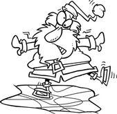 Fotografie Cartoon Santa-Eislaufen