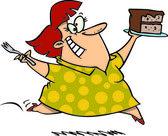 Fotografia cartone animato di una donna caucasica di paffuto e una torta