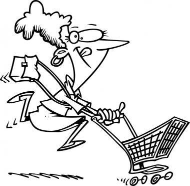 Cartoon woman power shoping