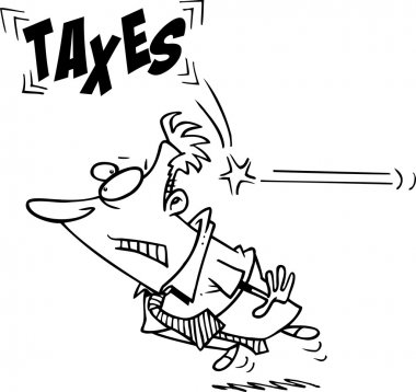 Businessman Being Hit From Behind With Taxes