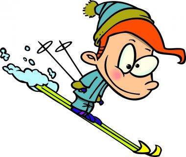 Cartoon boy skiing