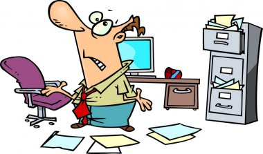 Cartoon disorganized businessman in a mess