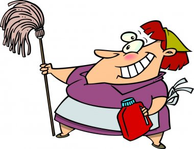 Cartoon of a Woman Doing Spring Cleaning