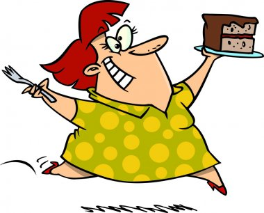 Cartoon of a Chubby Caucasian Woman and a Cake