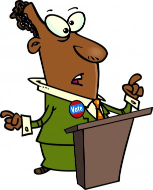 Cartoon of a Politician asking to vote