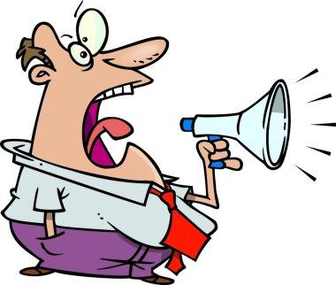 Cartoon man and megaphone