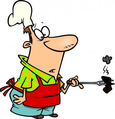 Cartoon of a Man Preparing to Barbeque Ribs
