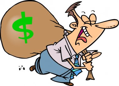 Cartoon man with money