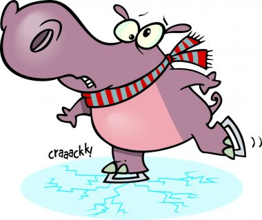 Cartoon Hippo Ice Skater