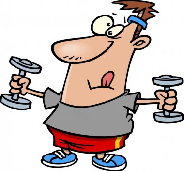 Cartoon Man Exercising