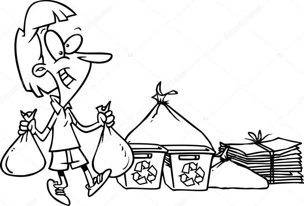 mulher de desenho animado reciclagem vetor de stock ronleishman