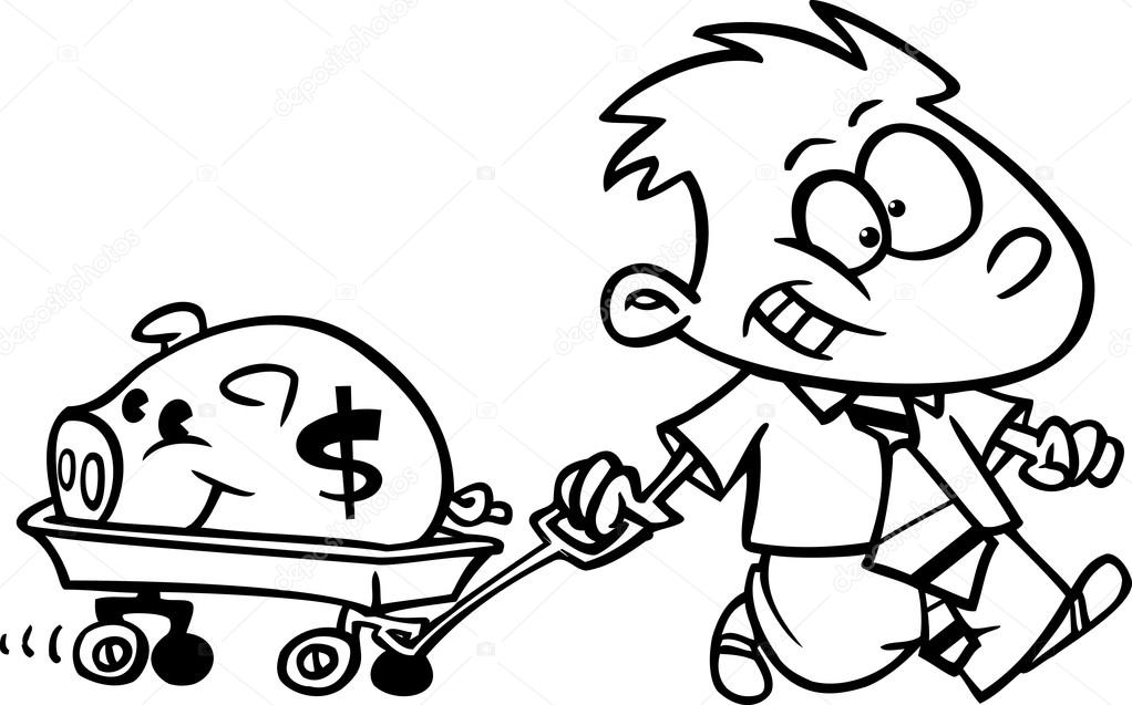 Cartoon Reach Boy Pulling His Piggy Bank In A Wagon