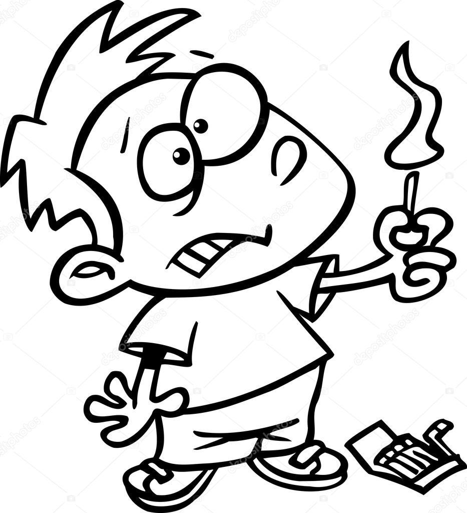 niño de dibujos animados jugando con fósforos — Archivo Imágenes ...