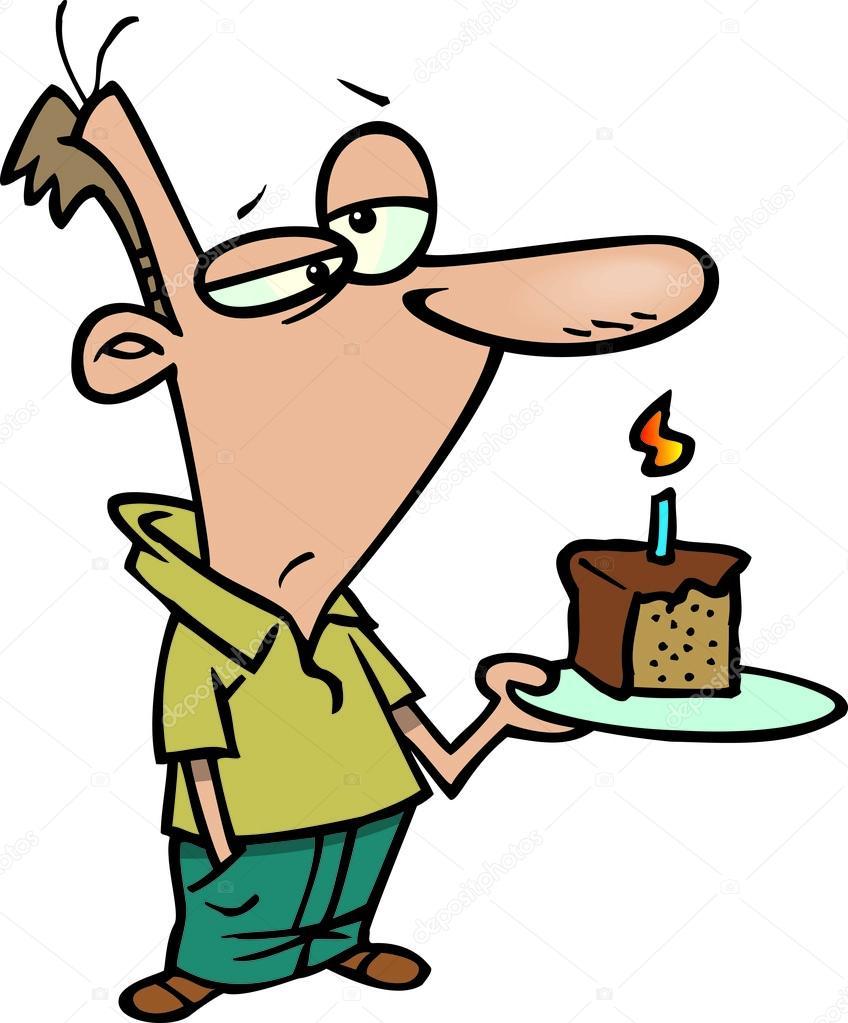 Uomo di cartone animato con torta di compleanno for Scarica clipart