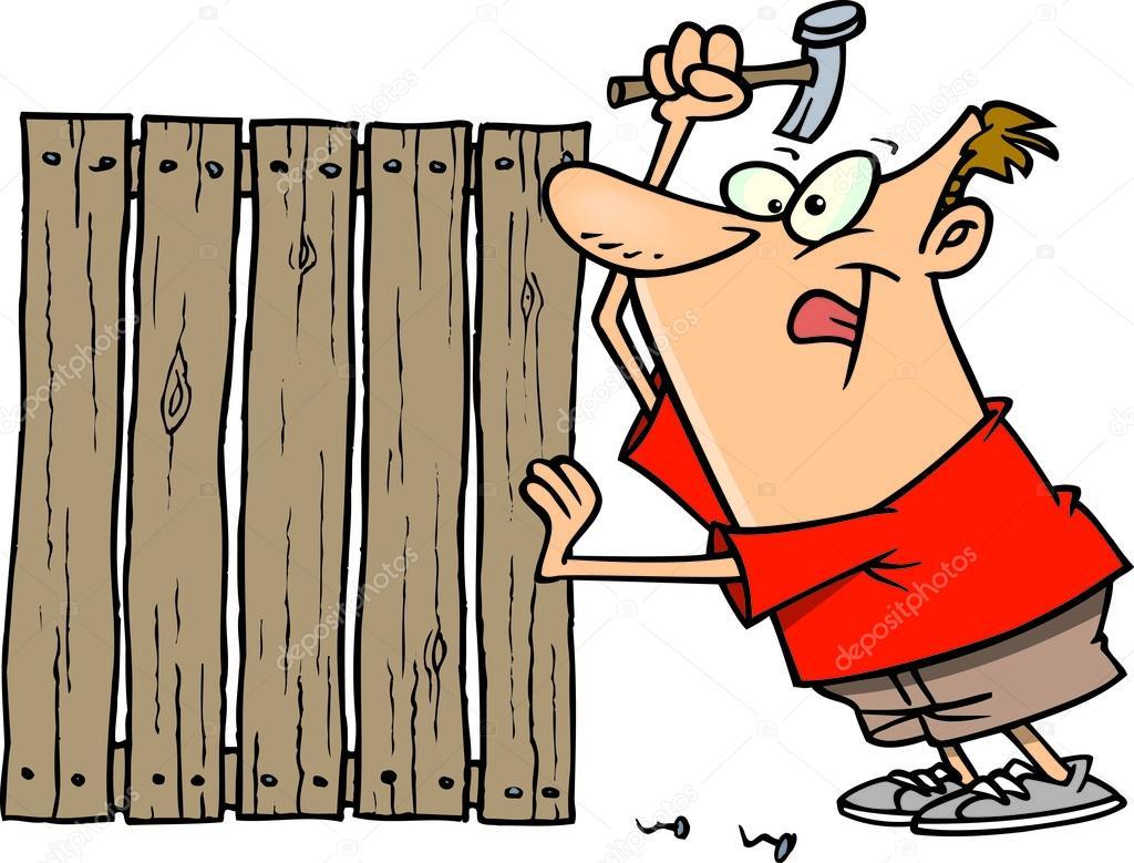 Karikatur Mann Gebaude Zaun Stockvektor C Ronleishman 13979984