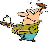 karikatura muže jíst dýňový koláč