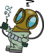 Fotografie Cartoon Deep Sea Diver