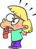 Kreslený čichnutí dívka