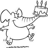 kreslený slon narozeniny