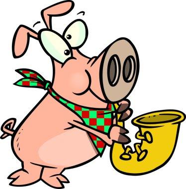 Cartoon Pig Playing Saxophone