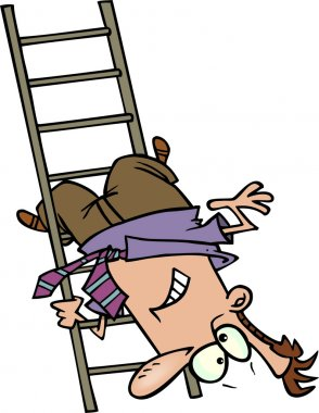 Cartoon Man Falling Down the Ladder