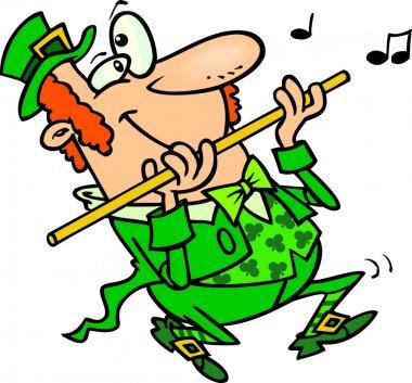 Cartoon Leprechaun Playing Flute