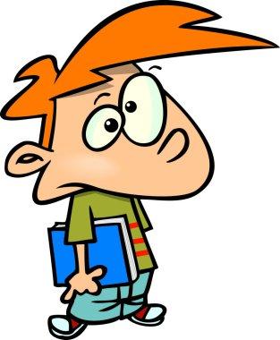 Cartoon Schoolboy Waiting