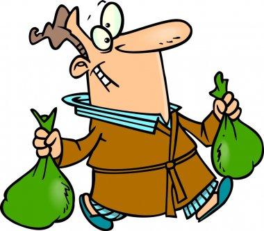 Cartoon Man Carrying Trash Bags