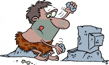 Cartoon Caveman Computer