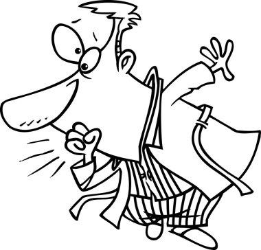 Cartoon Man in Pajamas Coughing