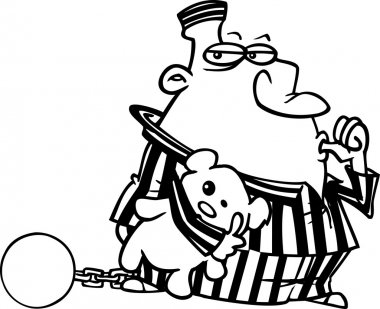Cartoon Convict with Teddy Bear