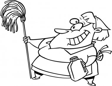 Cartoon Cleaning Lady with Mop