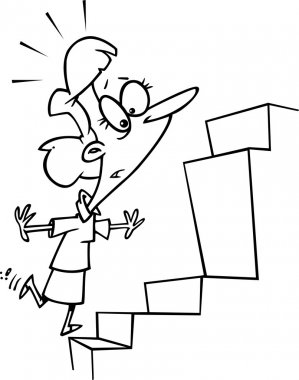 Cartoon Woman Steps Obstacle