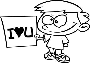 Cartoon Boy Love Sign