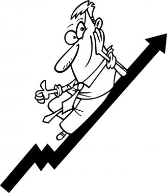 Cartoon Businessman Riding an Upturn
