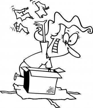 Cartoon Woman Unwrapping Gift Box