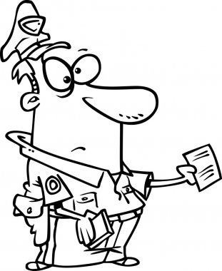 Cartoon Policeman Writing Ticket