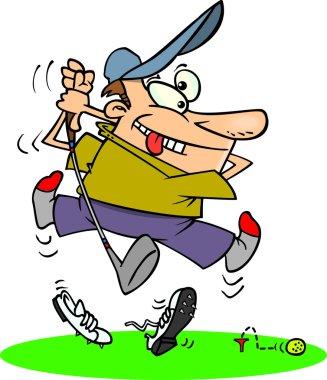 Cartoon Golfer Bad Drive