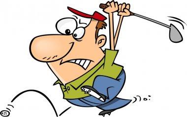 Cartoon Man Chasing Golf Ball