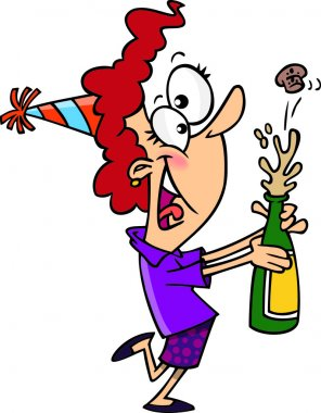 Cartoon Woman Celebrating the New Year