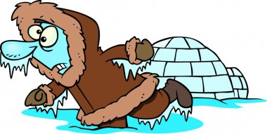 Cartoon Frozen Eskimo Near An Igloo