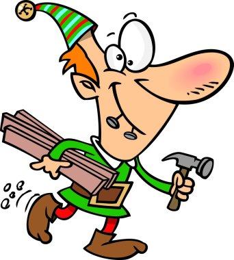 Cartoon Christmas Elf Worker