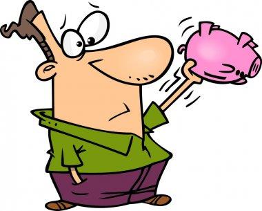 Cartoon Man Shaking an Empty Piggy Bank