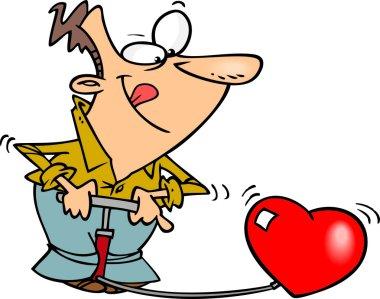 Cartoon Man Inflating a Heart stock vector