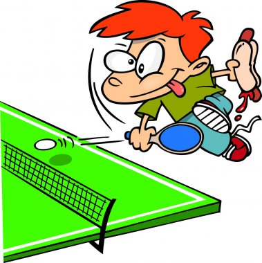 Cartoon Boy Playing Ping Pong