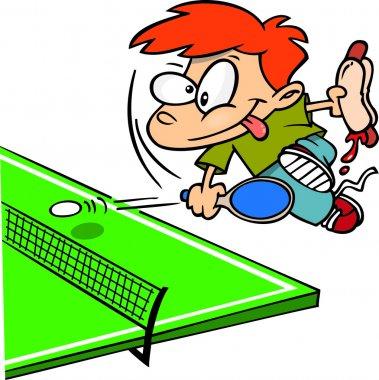 Cartoon Boy Playing Ping Pong