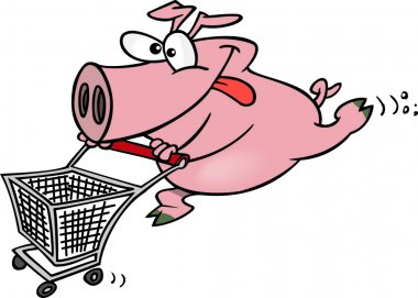 Cartoon Pig Shopper