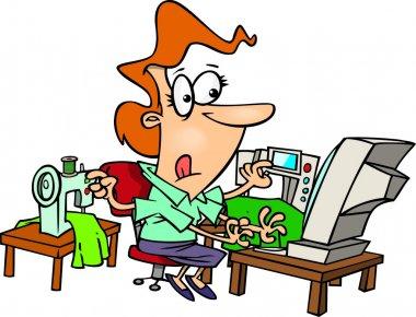 Cartoon Woman Multitasking