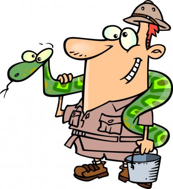 Cartoon Zookeeper Man with a Snake